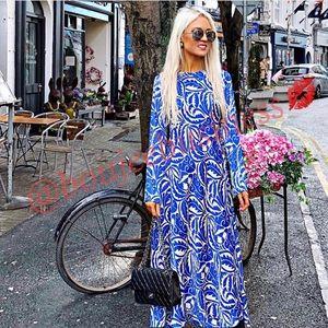 ZARA Long Printed Midi Dress